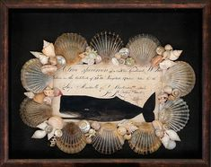 Seashell & Decoupage Shadowbox by Cynthia Rief Seashell & decopupage shadowbox with image of a whale stamp from a Nantucket ship's log and Nantucket scallop shells. Seashell Art, Seashell Crafts, Beach Crafts, Seashell Shadow Boxes, Types Of Shells, Nautical Art, Vintage Nautical, Quilling Designs, Victorian Art