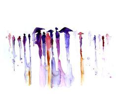 Abstract Watercolor painting - art print - 13x19 Ubrella painting