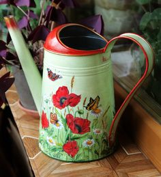 galvanized watering can, Watering can decoupage,modern vase, camomile and poppy flower,gift idea for women, Metal watering can, Flower vase