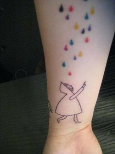 colourful rain tattoo... Without the person, with a cloud, and maybe an umbrella, on my arm :)