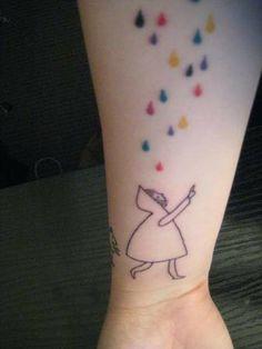 colourful rain tattoo