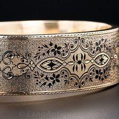 victorian gold bangle bracelet with enamel detail