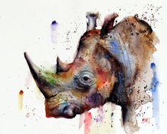 RHINO Watercolor Print by Dean Crouser by DeanCrouserArt on Etsy