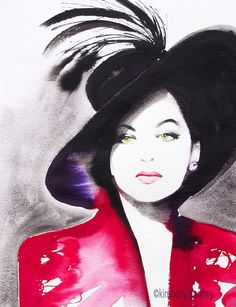 Ava Gardener Black Ink Fashion Illustration Art Print of Original Watercolor Painting Salon Decor Retro Hairdo Old Hollywood Hat. Just a little reminder: Airmail from England to the USA usually only takes one to three weeks to arrive - not the four to six weeks Amazon states as the shipping time. Fine art print of my original painting in vivid black and crimson. Direct from my studio in Suffolk, England, signed & dated. Watermark will not be on the finished art. Carefully packaged for…