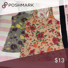Two for One Two tank tops with flower patterns. Rue 21 Tops Tank Tops