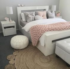 45 Cute And Girly Pink Bedroom Design For Your Home - bedroom - Dream Rooms, Dream Bedroom, Master Bedroom, Bedroom Lamps, Pretty Bedroom, Diy Bedroom, Ikea Girls Bedroom, Blush Bedroom, Ikea Bedroom White