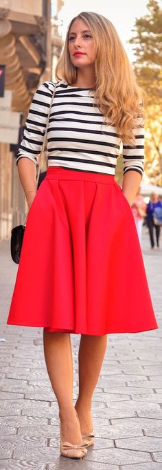 Red Midi A-skirt by A Place To Get Lost