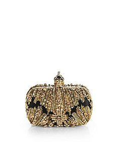 Alexander McQueen Glory Ice Embellished Leather & Mesh Box Clutch