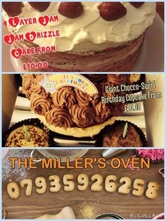 A selection of traditional homemade cakes available to order from THE MILLER'S OVEN for same day baking and home delivery service!