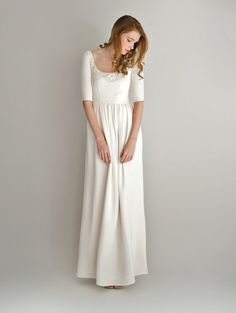 Silk Wedding Gown with Half-Sleeves  Cecile by Leanimal on Etsy