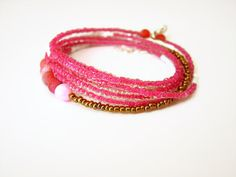 Pink and gold long bohemian necklace by AellaJewelry, $30.00