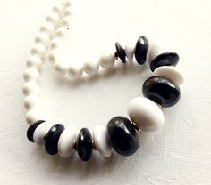 Vintage Black and White Necklace