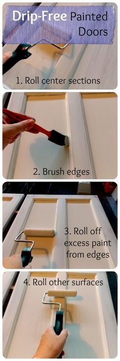 How to get a perfect drip-free finish while painting cabinet doors. ThePaletteMuse.com