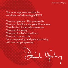 Your Friday Ogilvyism. David Ogilvy on the importance of testing. Marketing Guru, Marketing Quotes, Marketing And Advertising, Marketing Strategies, Advertising Words, Creative Advertising, Funny Commercials, Funny Ads, Business And Economics