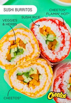Sponsored by Frito-Lay   Give your sushi obsession a spicy new twist this summer. This Cheetos® Sushi Burrito recipe uses Hot Cheetos® and Original Cheetos® on the outside to pack in the flavor, and fresh veggies on the inside bring the freshness! Personalize it any way you want, and pair it with your favorite Frito-Lay® products for a refreshing summer snack you'll be glad you said yes to.