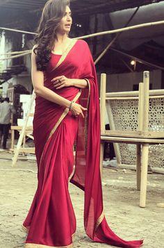 Saree Online: Shop Latest Indian Saris designs for Women Saree Dress, Saree Blouse, Saris, Indian Beauty Saree, Indian Sarees, Indian Attire, Indian Wear, Red Saree Plain, Sari Design