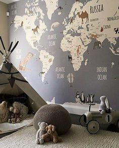 kid playroom with world map wallpaper and teepee in boy bedroom decor or girl be. kid playroom with world map wallpaper and teepee in boy bedroom decor or girl bedroom decor, adventure kid room design with map wallpaper for nursery design Baby Bedroom, Baby Boy Rooms, Nursery Room, Themed Nursery, Bedroom Kids, Map Nursery, Travel Theme Nursery, Room Baby, Girl Nursery