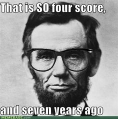 Hipster Lincoln. lol. I don't think he would wear the glasses, but it's funny. :)