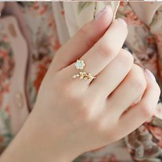 Hot Fashion Adjustable Rings Gold Color&Silver Plated Wishful Flower Leaves and Branches Finger Rings For Women Jewelry Wedding - Jewelry Stores NYC Cute Jewelry, Jewelry Rings, Jewelry Accessories, Jewelry Design, Women Jewelry, Jewelry Watches, Jewelry Ideas, Ladies Jewelry, Craft Jewelry