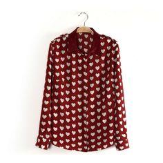Lapel Long Sleeved Cardigan Full Heart Print Shirt