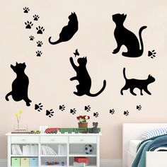 2017 New Arrived Black Cat Wall Stickers Cat Play Wall Sticker Butterflies Stickers Decor Decals for Walls Removable Decal
