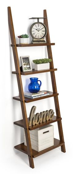 Shelf Ladder Bookcase with Brown Wood