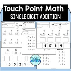 Practice with Touch Math single digit addition Touch Math, Simple Addition, Cut And Paste, Addition And Subtraction, Special Needs, Teacher Pay Teachers, Saving Money, Teaching, Education