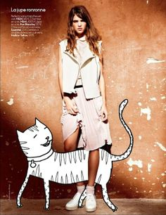 Art Power editorial by Hicham Road for Elle Belgium. Robin Holzken and Kid Acne Drawings    Cat