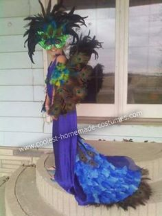 Halloween Peacock Costume: My 9 year old daughter is BIRD crazy. She wanted to be a peacock for Halloween last year. UGHHHHH! No Zombies, Ghost, or witches for her!  If it doesn't