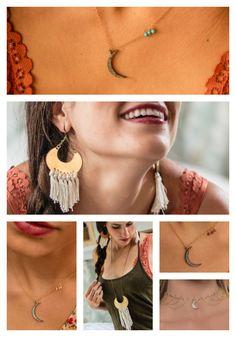 artifact: ADVENTURE // Crescent Moon Collection // Handmade with Gold, Silver, Brass, Topaz, Garnet, Rose Quartz, + Turquoise