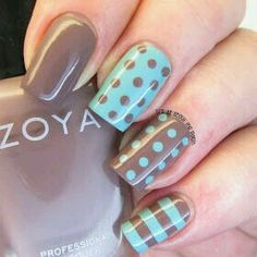 It's all about the polish: NOTD - Zoya Normani and Catrice Minter Wonderland polka dot skittle - Spring Nails Polka Dot Nails, Blue Nails, Polka Dots, Brown Nails, Mint Nails, Fancy Nails, Trendy Nails, Nails Today, Gel Nail Art Designs