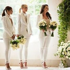Brides want to find themselves having the perfect wedding day, but for this they need the best wedding outfit, with the bridesmaid's dresses enhancing the wedding brides dress. Here are a number of tips on wedding dresses. Wedding Suits, Wedding Attire, Wedding Dresses, Wedding Pantsuit, Wedding Parties, Bridesmaid Outfit, Wedding Bridesmaids, Bridesmaid Ideas, Perfect Wedding