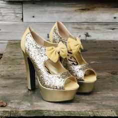 #Enchanted Gold Party Shoes, Sweet Glittering Party Shoes