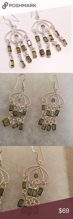 """Sterling silver green amethyst purple earrings NWT Chandelier green and purple amethyst earrings 2"""" Violette Studios Jewelry Earrings"""