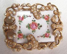 Vintage Guilloche with Pink Roses and Seed Pearls Brooch.