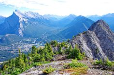 The town of Banff as seen from the Via Ferrata at Mount Norquay