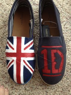 """""""One Direction"""" shoes I painted for Natalie."""