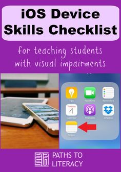 iOS Device Skills Checklist for teaching students who are blind or visually impaired