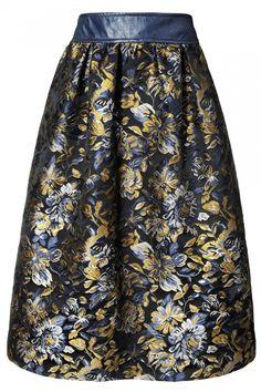 Dark blue jackard midi skirt