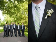 Groomsmen looking rather dapper in gray suits and white mum boutonnieres. Wedding Photographer: Kelly Ewell Photography.
