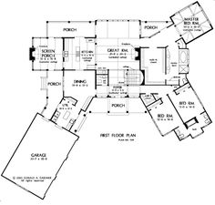 The Blue Ridge House Plans First Floor Plan - House Plans by Designs Direct.