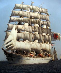 Beautiful Tall Ship Under Full Sails