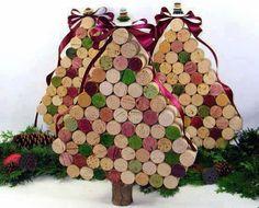 Tapones de corcho para crear arbol de Navidad