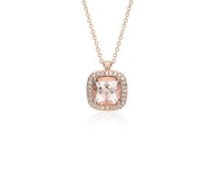 Robert Leser Morganite and Diamond Halo Pendant in 14k Rose Gold (8x8mm) | Blue Nile