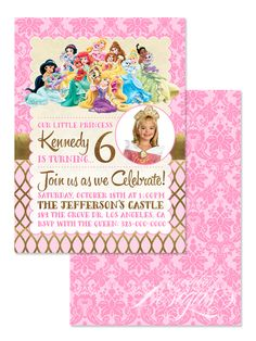 Palace Pets (Princess) - Digital Faux Gold Foil Birthday Party Invitation / Child Party Ideas / Children Party Themes / Children Invites / Children Invitations / Kid Party Ideas / Kid Invitations