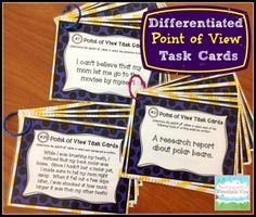 Teaching Point of View: Differentiated Point of View Task Cards. Blog post, anchor chart, freebies, and information about task cards!
