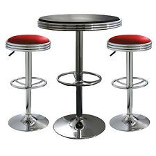 Pub Table Set 3-Piece Bar Stools Kitchen Furniture Bistro Black Red Height Home