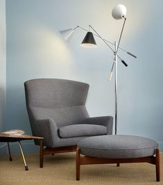 Armchair and Ottoman | Jens Risom | Mid Century Modern #midcenturymodernfurniture