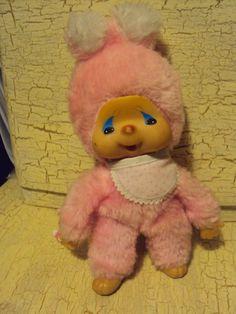 Monchichi,Monchhichi ,selten,rar,rosa-weiß,mit süßen Ohren,mit Latz,21cm