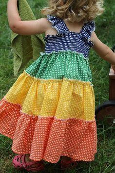 Girls Rainbow Gingham Ruffle Dress DIY from Made by Rae